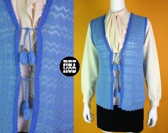 Pretty Vintage 60s 70s Periwinkle Blue Knit Long Vest with Pom Pom Closures