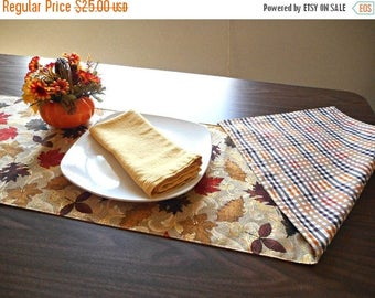 Christmas in July Sale Autumn Leaves Table Runner Reversible Fall Mustard Red Rust Brown Gold Tan Pumpkin Scrolls Plaid Thanksgiving