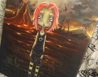 Original LIZARD GIRL alien painting- On planet Lemuria
