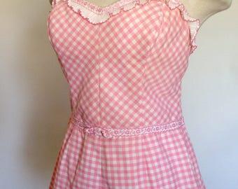50s 60s Vintage Pink Gingham Jantzen Playsuit Play Suit 36-40 bust 30 waist size 18 Pinup Rockabilly