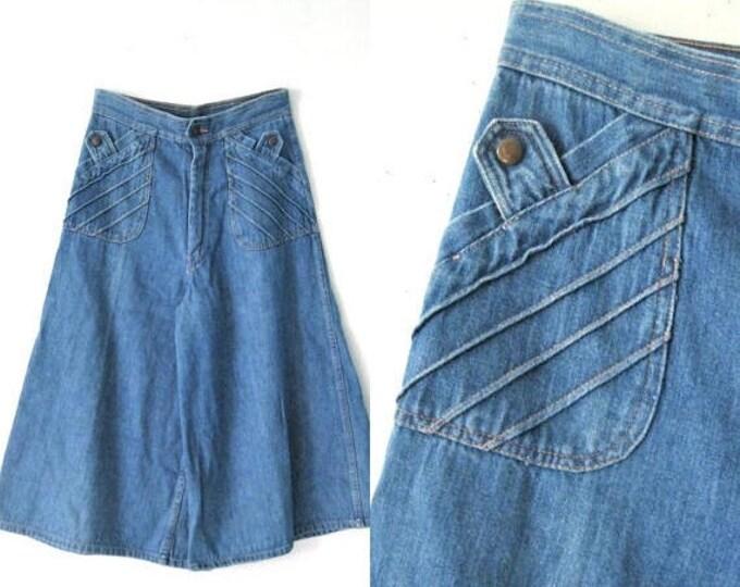 WINTER SALE Vintage 70s denim culottes / Hippie Boho denim jean culottes shorts / 1970s flare orange stitched denim culottes