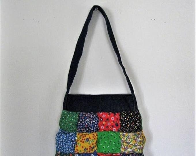 WINTER SALE Vintage Children's quilted patchwork bag / 70s denim and floral calico kids purse / Hippie Boho Folk Vintage childs shoulder bag
