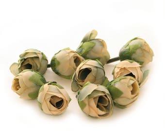 10 Khaki Blue Tea Roses - Artificial Flowers, Silk Roses