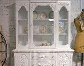 Painted Cottage Chic Shabby White Romantic French China Cabinet CC1019