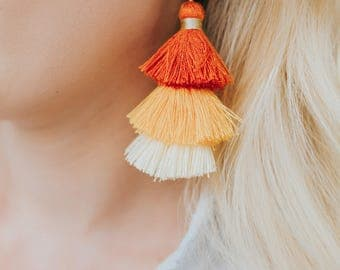 Tri Color Tassel Earrings-Orange