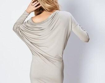 SALE - Asymmetrical dress | Coctail dress | Light brown dress | LeMuse asymmetrical dress
