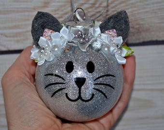 Personalized Christmas Ornament, Cat Ornament, Kitty ornament, Glitter, Eyelash, Stocking Stuffer, Babies First Christmas, Pet Gift