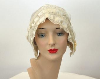 Antique boudoir cap ivory silk with ribbons 1910s teens sleeping cap hat