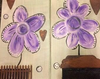 Mixed media Purple Window Sill Flowers