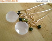 50%OFFSALE Dew Drop Earrings- Chalcedony, Green Tourmaline, Goldfill