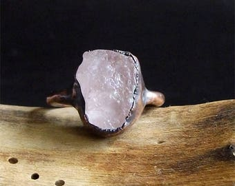 Raw Stone Crystal Ring Morganite Ring Copper Gemstone Jewelry Ring Size 6.5 Pink Morganite Ring Midwest Alchemy