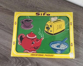 Vintage SIFO Childs 4 Piece Wood Puzzle ~ Mother's Friends ~ In Package