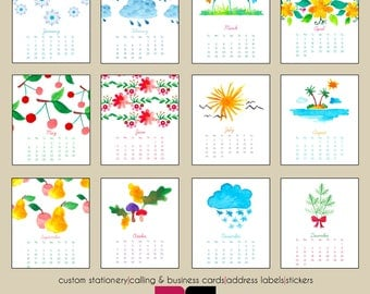 2018 Desk Calendar - Watercolor Seasons with Clear Case