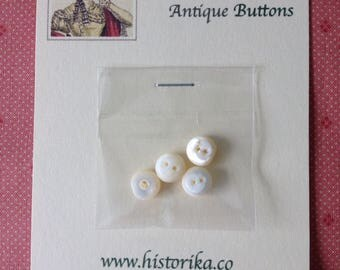 X4 Chunky Antique Mother of Pearl Buttons – 10mm by 3mm