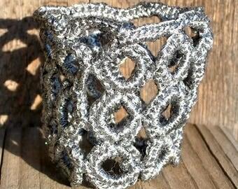Crochet Bracelet Silver Yarn Circles Cuff Handmade Mother Wife Daughter Girlfriend 8 Inches Wife Birthday Anniversary Metallic Ready to Ship