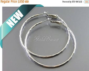 10% SALE 2 pcs / 1 pair large 50mm shiny silver textured hoop earrings, earring hoops, ear wires 977-BR-50