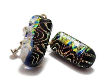 Dichroic Dangle Earrings, Clip On Screw Back Earrings, Non Pierced Earrings, Gold and Black, Dangle Earrings, Fused Glass Dangle Earrings