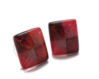 Dichroic Glass Earrings, Fused Glass Earrings, Post Earrings, Surgical Steel Posts, Red Earrings, Hypo Allergenic Earrings,179