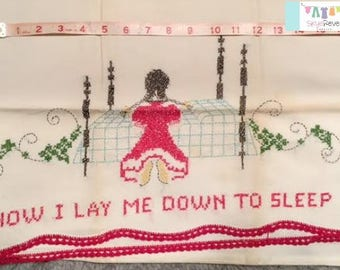 Vintage Pillowcase with Hand stitched Prayer #2