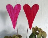 """Valentines Day Metal Heart Garden Art Stakes Rose Red Pink Hearts Yard Decor Recycled Metal Valentine Wedding Anniversary 5"""" x 8"""""""
