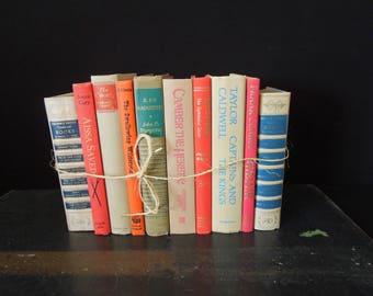 Mixed Color Books by the Foot - Neutral Beige with Coral Books for Decor - Vintage Book Stack - Bookshelf Decoration