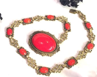 CIJ SALE Christmas JULY Sale Art Deco Ornate Red Czech Glass Vintage Necklace