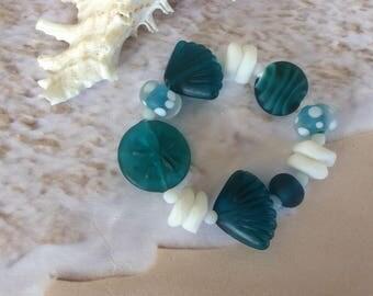 Sea Glass Bracelet, Teal, Scallop shells, Sand dollar, Coastal, Beach, Nautical  Gift
