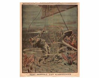 C. c. 1907 DEATH of a DIVER - original antique lithograph - underwater ocean scene - horrible death of a deep sea diver - diving accident