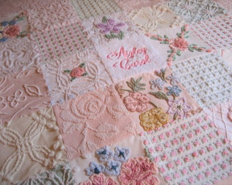 "Personalized Vintage Chenille Baby Quilt -  ""Baby's Breath"" - Custom -Heirloom quality bedding for your little one."
