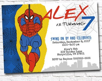 Printable WEB WONDER Spider-Man Inspired Birthday Invitation by Moo Moo's & Tutus Design Studio