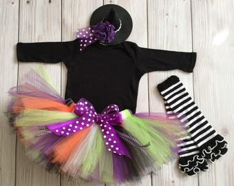 Baby Girl Costumes | Witch Costumes | Halloween Costume Baby Girl | Baby Halloween Costume | Witch Tutu Costume | Mini Witch Hat
