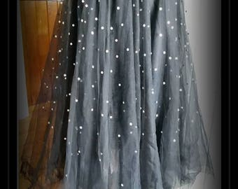 RESERVED Rockabilly 50's Gothic Diamonte Crystals Galore & Tulle OOAK Hand Made  Skirt SIZE S-M