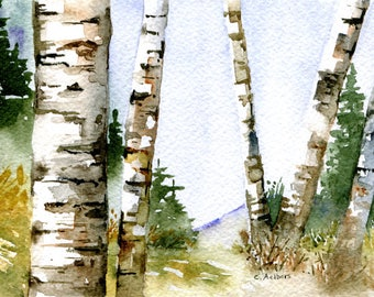 Woodland Landscape Painting Original Watercolor
