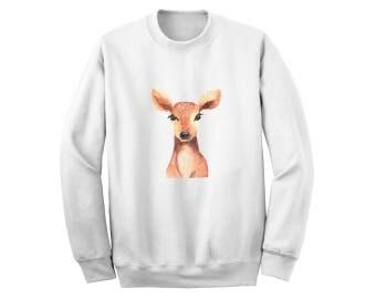 Doe Deer Sweatshirt - Watercolor Reindeer Christmas Sweater