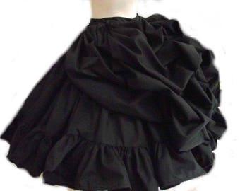Bustle Skirt Gothic Lolita Goth Loli Steampunk Steam Punk Victorian Cosplay Full Skirt Ruffles Handmade Black Custom Size including Plus