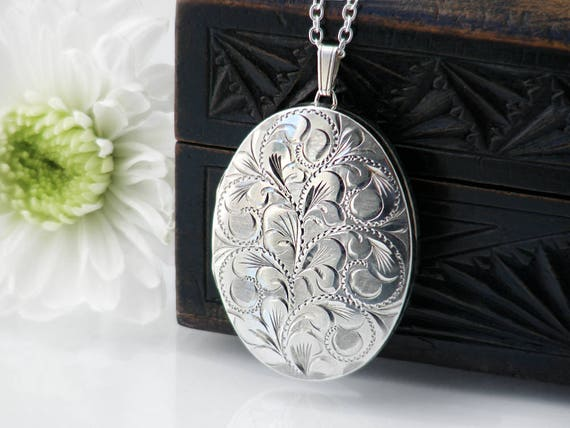 Sterling Silver Vintage Locket Necklace | Extra Large Engraved Oval Locket | 1977 English Hallmarked Silver - 30 Inch Long Sterling Chain
