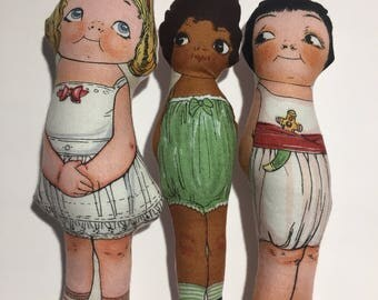 7 inch vintage inspired plush dolls dolly dingles