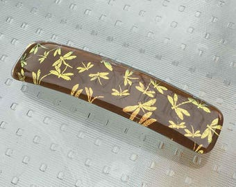 Hair Barrette French Clip, Brown with Gold Dragonflies, Dichroic Glass