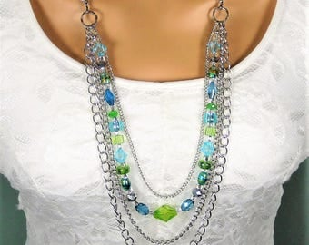 Long Beaded Necklace, Blue Necklace, Green Necklace, Beaded Necklace, Multistrand Silver Necklace, Bead Necklace, Multi Strand Necklace,N915