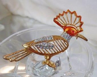 SALE Vintage Orange Glitter Roadrunner Brooch.  Orange Glitter Roadrunner Bird Pin.