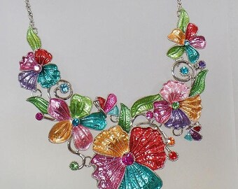SALE Vintage Rhinestone Flower Necklace.  Pink Aqua Peach Green Rhinestone Enamel Flower Blossom Necklace.