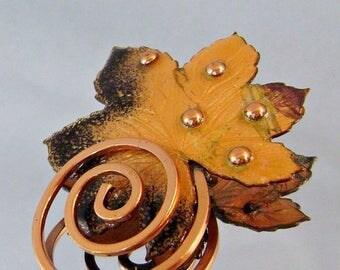 SALE Matisse Copper Vintage Brooch Autumn Leaf