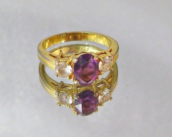 SALE Vintage Ring Amethyst Glass and Cubic Zirconia Gold
