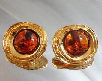 SALE Vintage St John Earrings 22k Gold Plated and Faux Amber Tortoiseshell