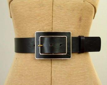 Vintage 1990's Banana Republic Belt / 90's Black & Gold Wide Italian Leather Statement Belt /Black Enamel Big Buckle Belt