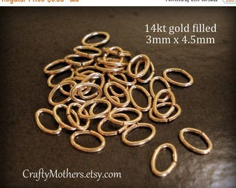 7% off SHOP SALE X-Small Oval 14kt Gold Filled Open Oval Jump Rings, 3mm x 4.5mm, 21 gauge, Connectors - Choose a Quantity