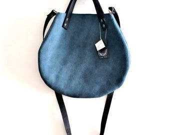 OnSALE Blue turquoise leather  basket bag ,Cross-body bag, handbag
