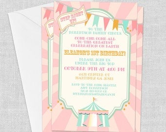PRINTED Pink Circus Invitation, 5 x 7, Carnival Invitation, Birthday Invitation, Baby Shower Invitation, Customized w/ Your Wording