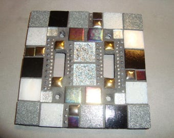 MOSAIC LIGHT SWITCH Plate, Double, Wall Art, Wall Plate, Black, Gray, Silver, Gold