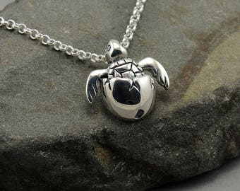 Turtle Necklace - 925 Sterling Silver Baby Sea Turtle Jewelry,  ocean jewelry, trendy necklaces, birthday gift